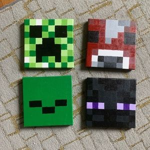 4 8x8 Minecraft canvas painted pictures